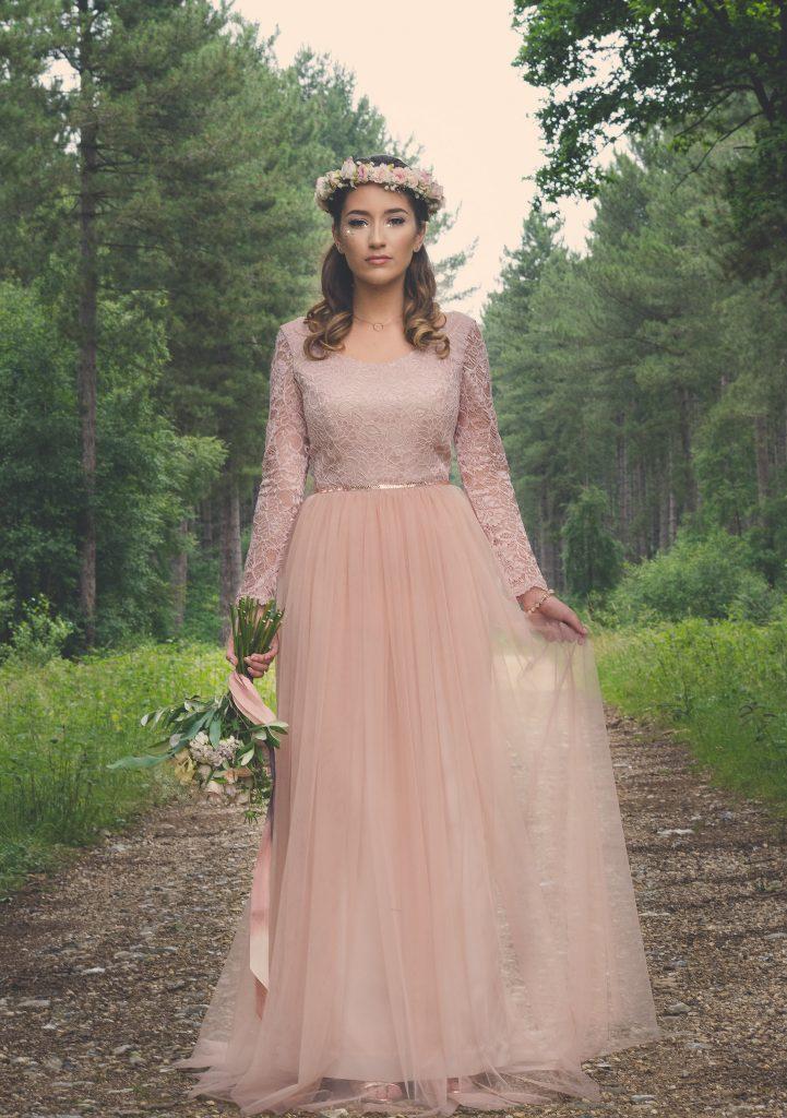 Blush pink boho wedding dress by River Elliot Bridal