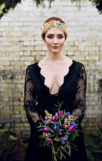 River Elliot Bridal Black Lace Wedding Dress