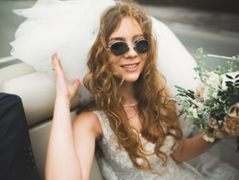 Boho bride in boho wedding dress