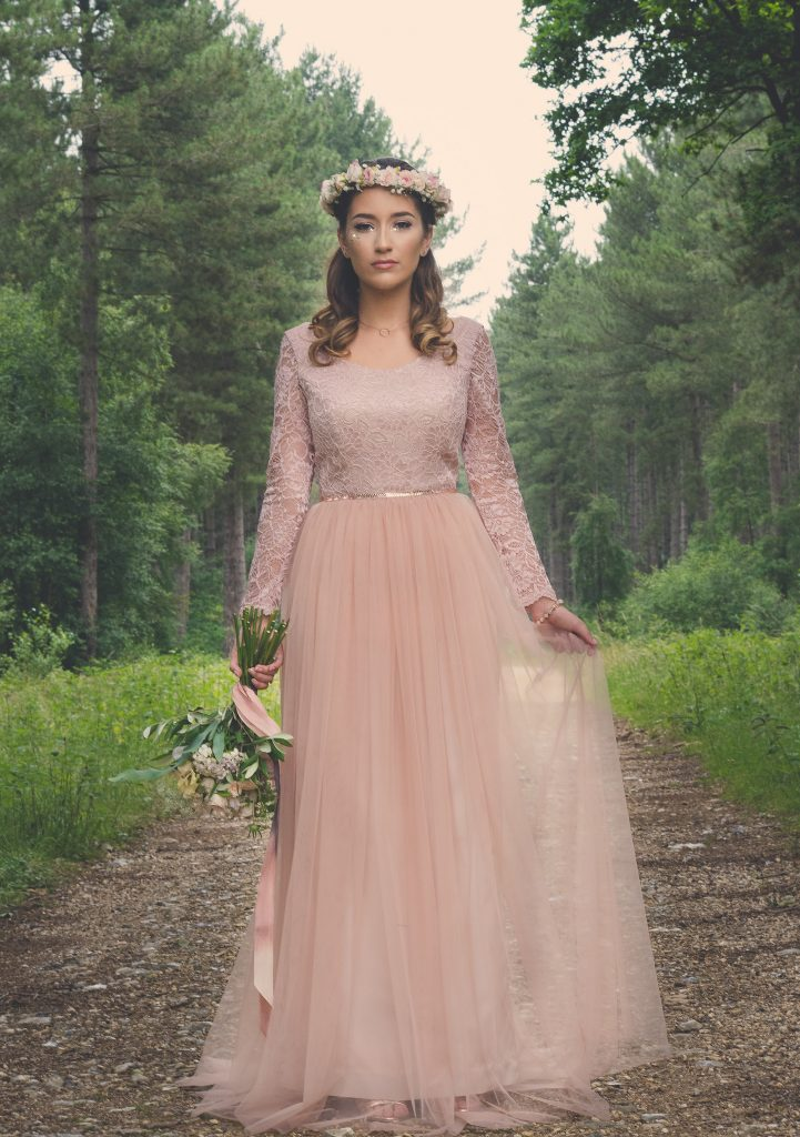 Blush pink boho wedding dress by River Elliot Bridal