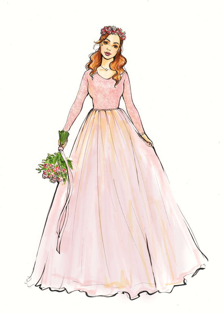 Beautiful sketch for wedding dress ideas