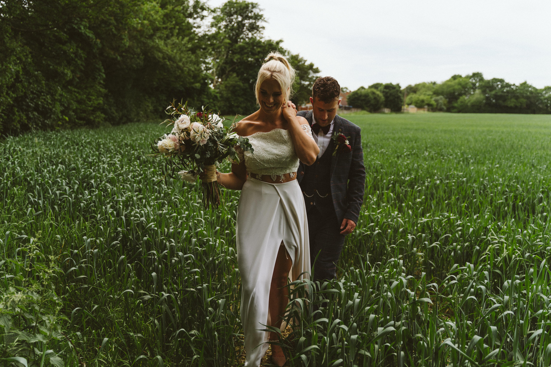 Boho wedding lace top and silk bridal skirt