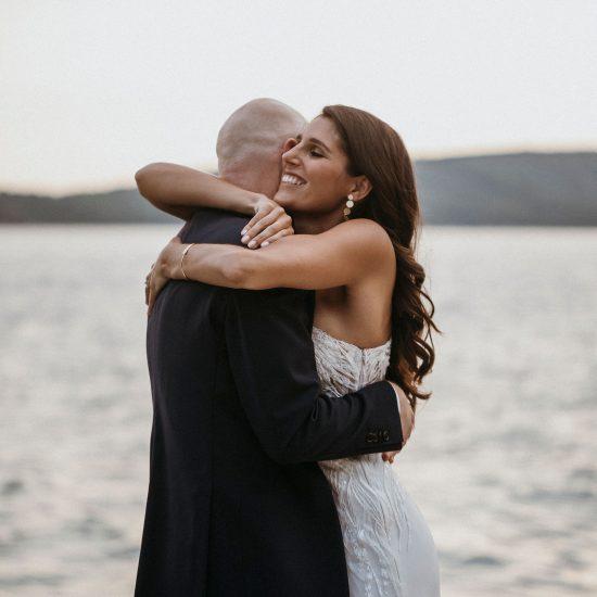 Lace and silk wedding dress.