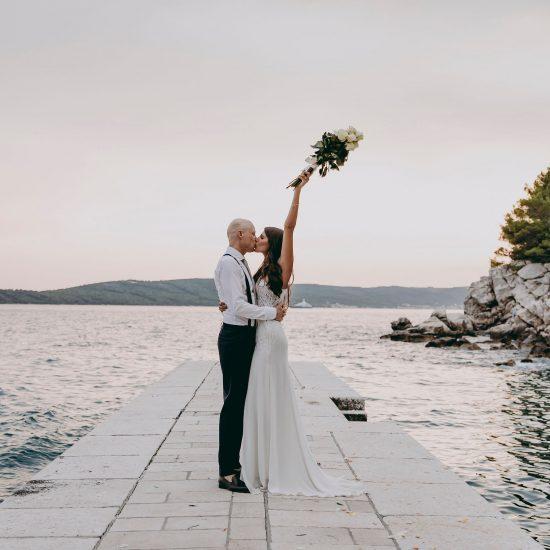 Lace wedding dress with thigh split.